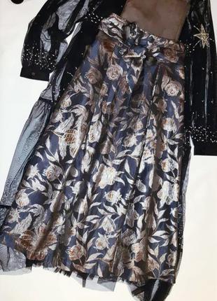 Роскошная жаккардовая миди юбка р. 10 м4 фото