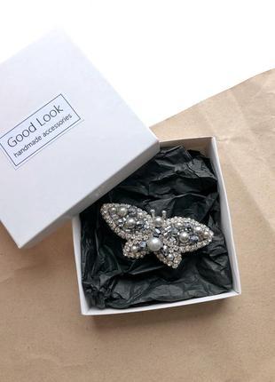 Брошка бабочка, серебреная брошь из бисера, брошь ручной работы, брошь насекомое