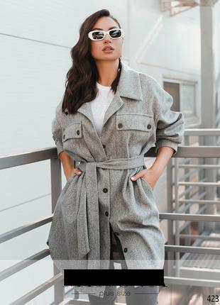 Женское пальто-кардиган больших размеров: 48-58