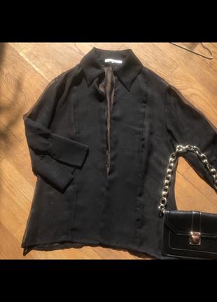 Чёрная рубашка женская прозрачная шифоновая с длинным рукавом