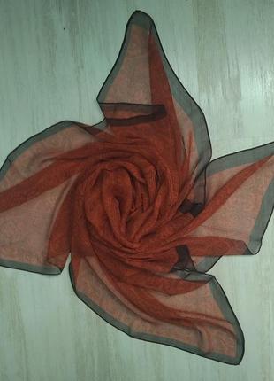 Шелковый платок коричневый шалик хустинка шовкова