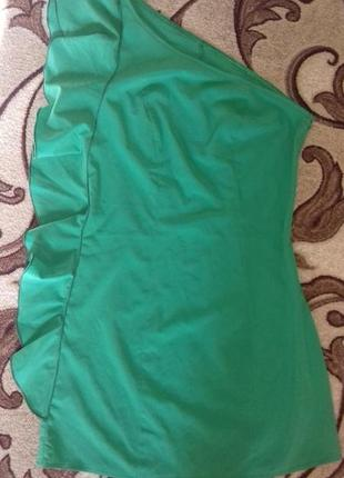 Платье мини на одно плечо с воланом по всей длине с-м