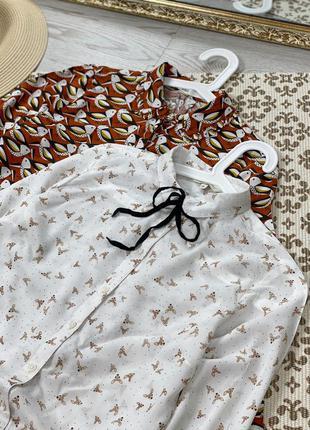 Рубашка в принт с птичками🐧2 фото