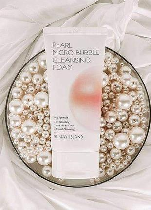 Мягкая пенка для умывания с жемчугом may island pearl micro-bubble cleansing foam