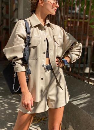 Костюм из кожи / кожаный костюм / костюм из эко кожи / кожаная рубашка / кожаные шорты