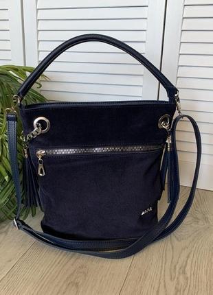 Сумка мешок женский синий замшевый1 фото