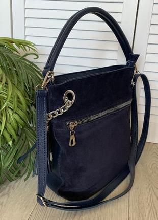 Сумка мешок женский синий замшевый2 фото
