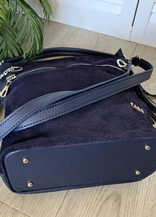 Сумка мешок женский синий замшевый4 фото