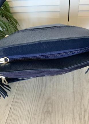 Сумка мешок женский синий замшевый5 фото