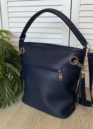 Сумка мешок женский синий замшевый3 фото