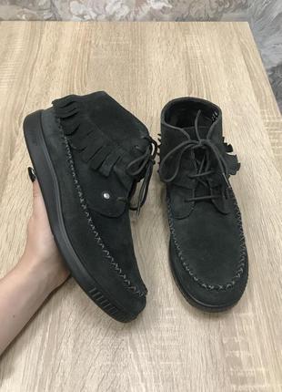 Hotter 37,5-38 p кожа черевички ботинки сапоги туфли