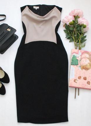 Классическое двухцветное миди платье по фигуре hobbs