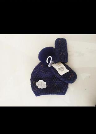 Зимняя шапка  с помпоном и варежки комплект набор на 6 12 месяцев на