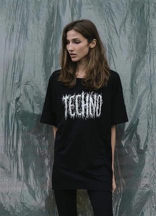 Оверсайз футболка «techno» от украинского бренда metrique3 фото