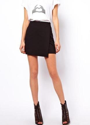 Идеальная черная классическая юбка с запахом1 фото