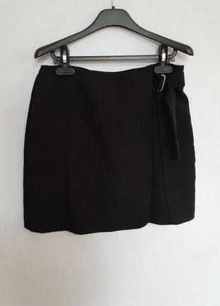 Идеальная черная классическая юбка с запахом2 фото