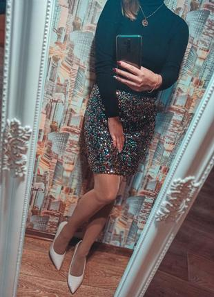 Блестящая юбка пайетки