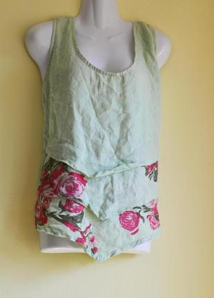 Брендовая блуза топ лен в цветы/обмен