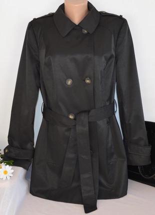 Брендовый черный плащ тренч с поясом и карманами the collection debenhams вьетнам этикетка1 фото