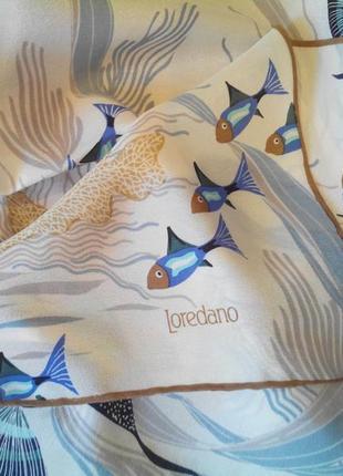 Vip бренд loredano оригинал италия  винтаж подписной шелковый платок натуральный шелк
