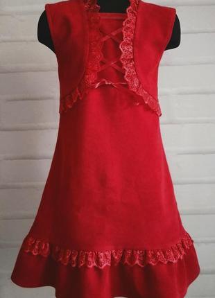 Красный вельветовый сарафан. микровельвет. детский сарафан. рр 110-146