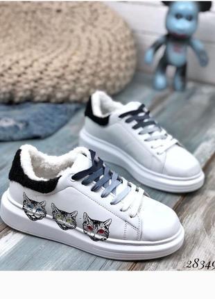 Кроссовки зимние c рисунком котики, кроссы, кеды, кроссовки на меху, зимние
