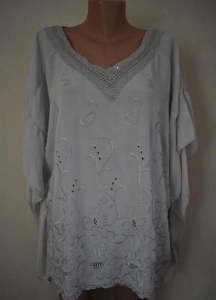 Натуральная итальянская блуза с вышивкой большого размера