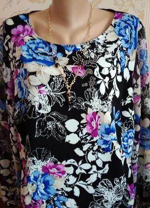 Туника  кофточка  блуза яркая нарядная с шифоновыми рукавами рр.18-ххл-хххл