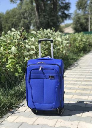 Акция! маленький текстильный чемодан синий  ручная кладь