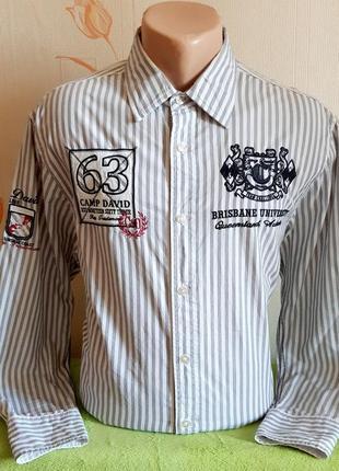Бомбовая премиальная рубашка в полоску camp david muscle fit, made in india