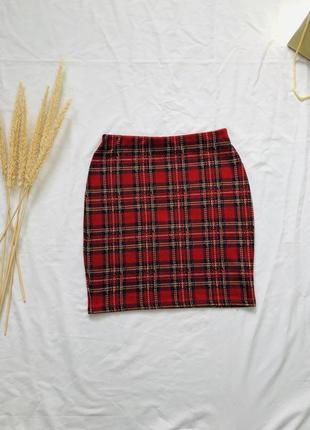 Клетчатая мини юбка на резинке