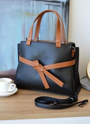 Стильная комбинированная черная с коричневым кожаная сумка, borse in pelle италия