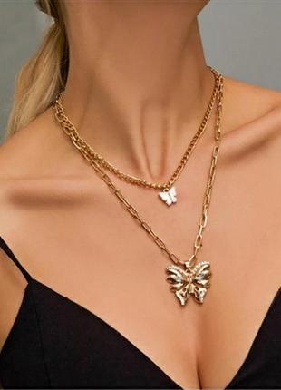 Ожерелье колье цепочка многослойная золотистая с подвеской бабочки