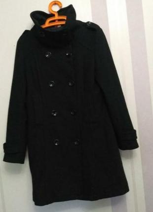 Двубортное шерстяное пальто, миди