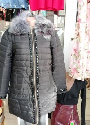 Куртка пальто камни мех