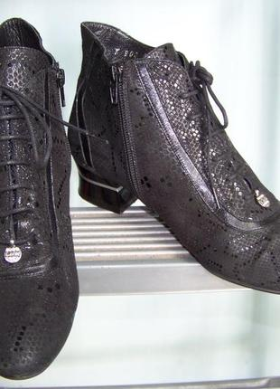 Натуральные под питона черные ботинки со шнурками и молнией labour 37р 24-24.5 стопа