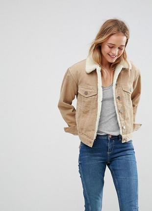 Куртка вельветовая осенняя демисезонная короткая утепленная цвета хаки
