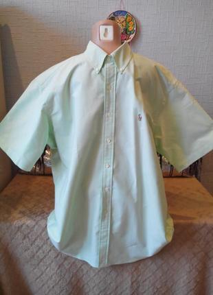 Мужская рубашка мятного цвета  ralph lauren с коротким рукавом