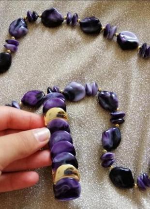 Набор бижутерии бусы и браслет фиолетовые