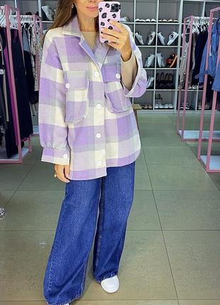 Красивая рубашка кашемировая лаванда в клетку