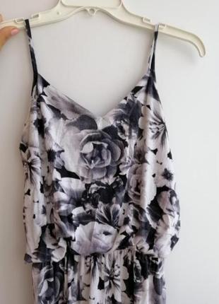 Комбинезон чёрный серый белый облягающий цветочный принт