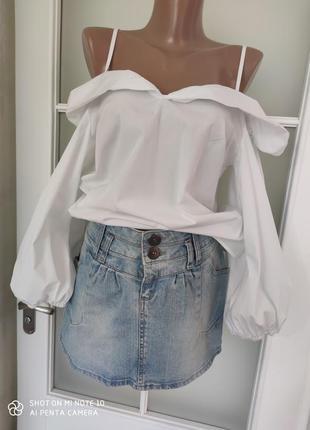Блузка белая рубашка открытые плечи