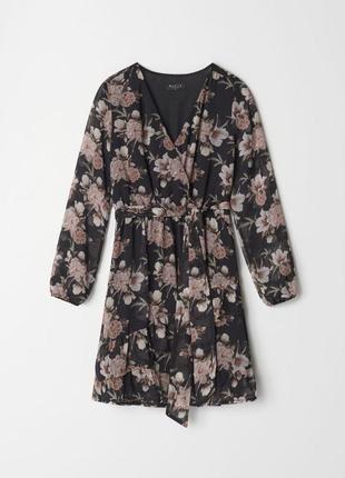 Мини платье цветочный принт 32-42