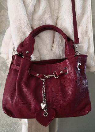 Красивая кожаная сумка borse in pelle, италия