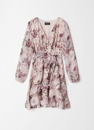 Платье на запах цветы xxs-xl