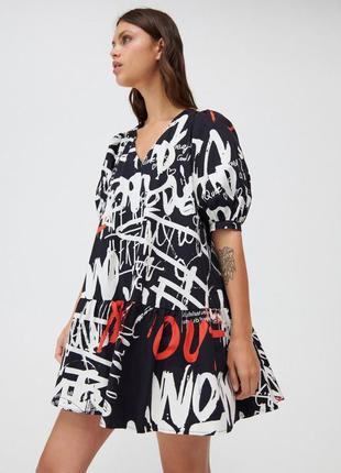 Хлопковое платье с принтом xxs-l