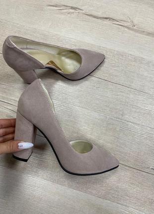 Туфли на каблуке кожа замш