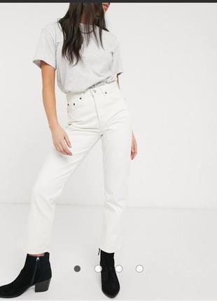 Белые штаны прямого покрою,с высокой талией