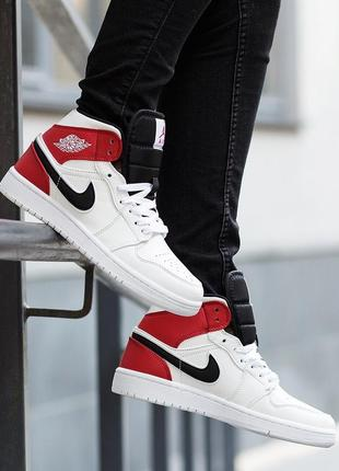 Женские кроссовки nike air jordan 1 mid white black gym red