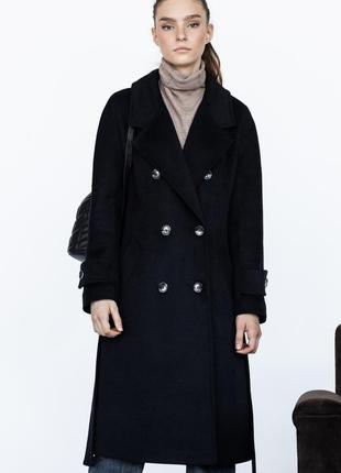 Шерстяное двубортное пальто ровного кроя зима демисезон